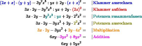 \begin{align*} \textcolor{blue}{(2x+x)} \cdot \textcolor{blue}{(y+y)} - 3y^2z^3 : yz + 2y \cdot\textcolor{blue}{(z+z)}^2 &= \quad | \,\text{\textcolor{blue}{Klammer ausrechnen}}\ 3x \cdot 2y - 3y^2z^3 : yz + 2y \cdot \textcolor{red}{(2z)^2} &= \quad | \,\text{\textcolor{red}{Klammer auflösen}}\ 3x \cdot 2y - 3\textcolor{teal}{y^2z^3 : yz} + 2y \cdot 2^2z^2 &= \quad | \,\text{\textcolor{teal}{Potenzen zusammenfassen}}\ 3x \cdot 2y - 3yz^2 + 2y \cdot \textcolor{olive}{2^2}z^2 &= \quad | \,\text{\textcolor{olive}{Potenzen ausrechnen}}\ \textcolor{orange}{3x \cdot 2y} - 3yz^2 + \textcolor{orange}{2y \cdot 4 z^2} &= \quad | \,\text{\textcolor{orange}{Multiplikation}}\ 6xy \textcolor{magenta}{- 3yz^2 + 8yz^2} &= \quad | \,\text{\textcolor{magenta}{Addition}}\ 6xy + 5yz^2 \end{align*}