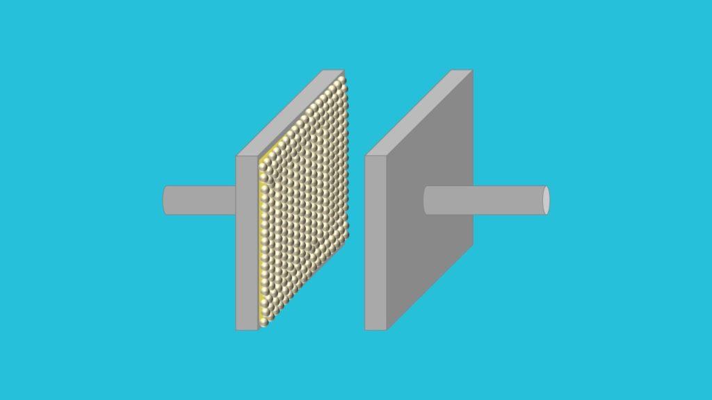 Plattenkondensator, elektrisches Feld, Metallplatten, Dielektrikum, Elektronen, Spannung, Energie speichern