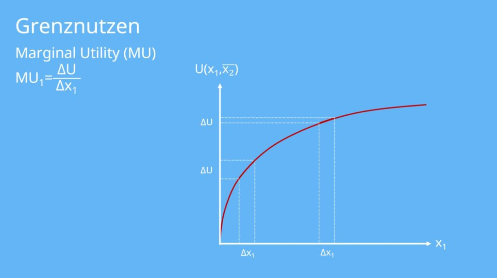 Grenznutzen, Grenzrate, MU, Nutzenniveau,Marginal Utility