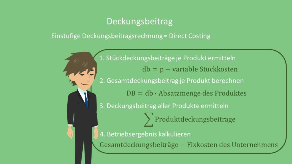 Deckungsbeitrag Formel Einstufige Deckungsbeitragsrechnung Direct Costing