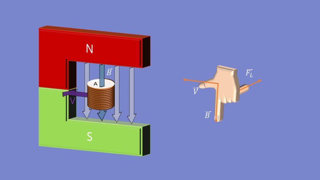 Linke Hand Regel, Induktionsspannung, Magnetfeld, Leiter ,Induktion, Lorentzkraft, elektromagnetische Induktion