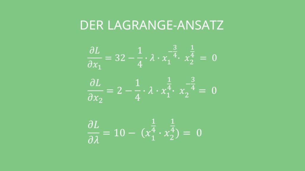 Kostenminimierung mit Lagrange Ansatz