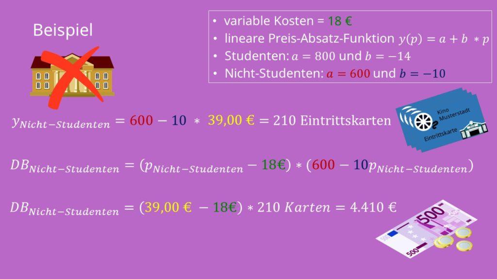 Lineare Preis-Absatz-Funktion Beispiel