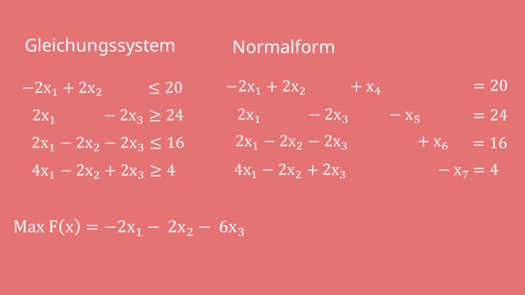 M-Methode: Gleichungssystem in Normalform umstellen