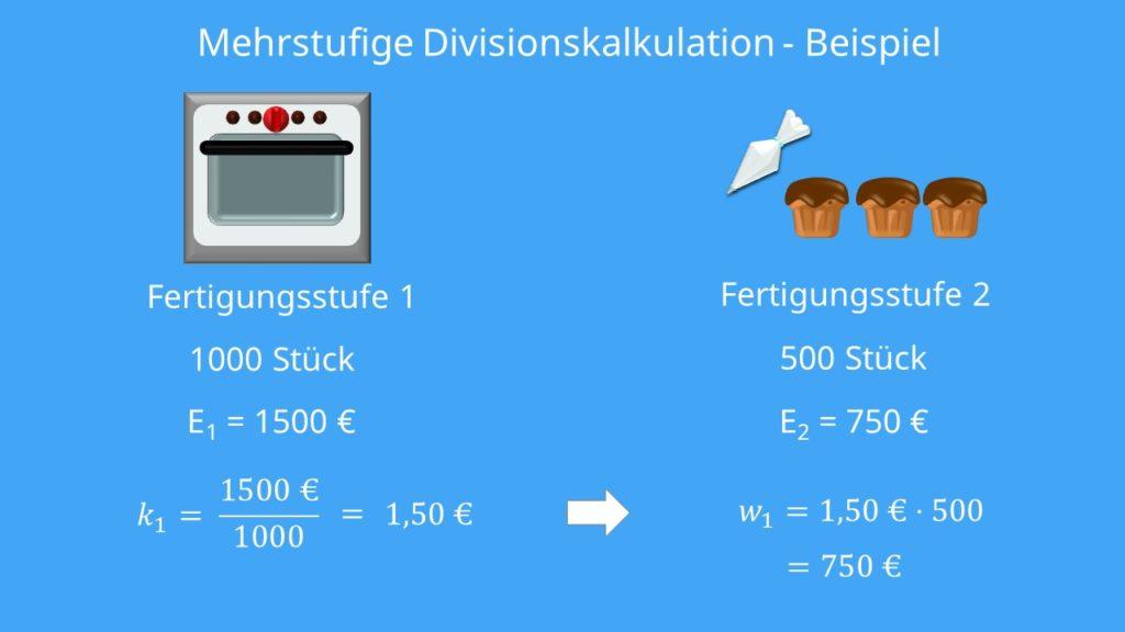 Mehrstufige Divisionskalkulation Beispiel