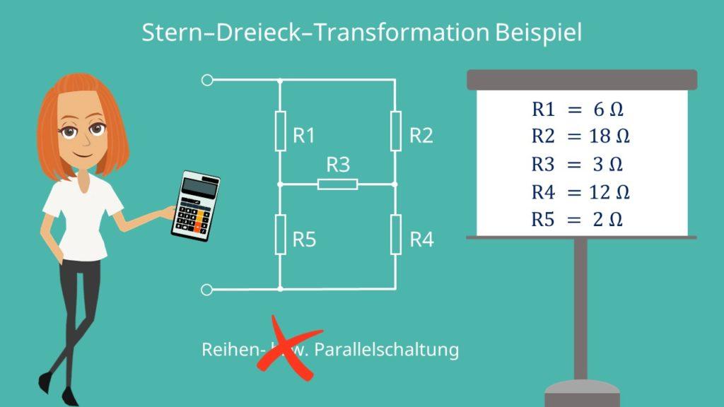 Stern-Dreieck-Transformation Beispiel, Stern Dreieck Umwandlung, Stern Dreieck Transformation, Widerstand, Dreieck Stern Umwandlung