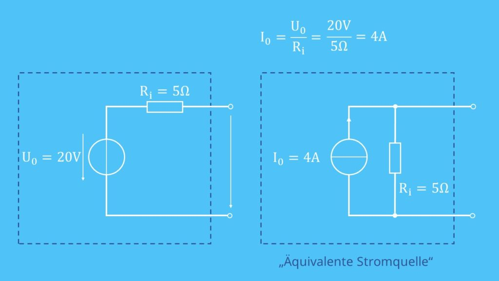 Spannungsquelle, Stromquelle, Beispiel Spannungsquelle in Stromquelle umwandeln. Stromquelle in Spannungsquelle umwandeln