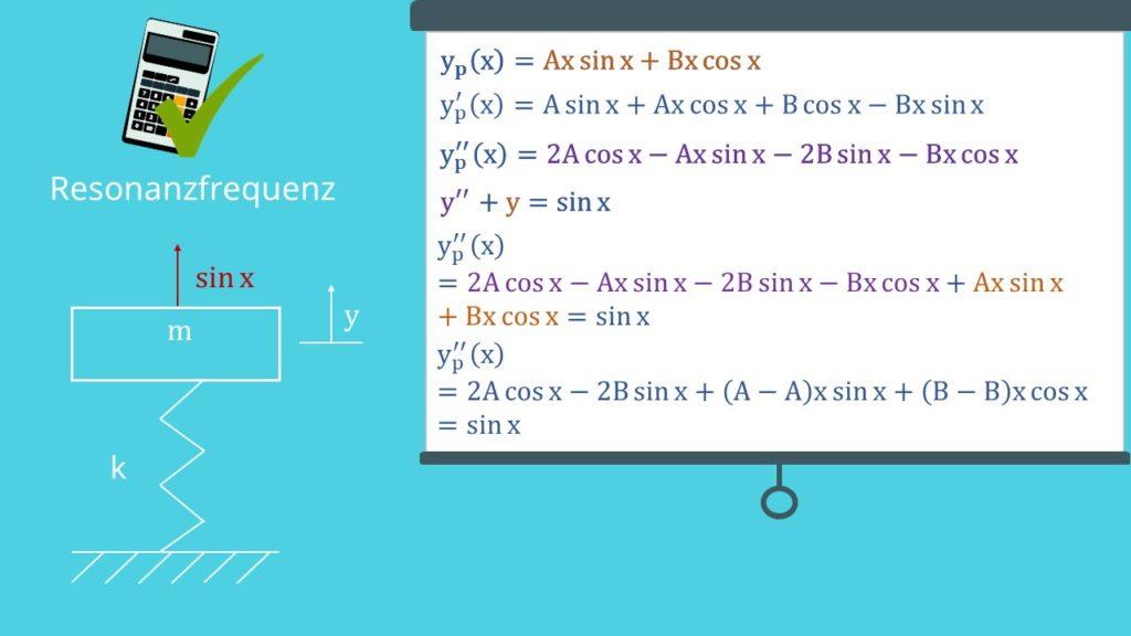 Ansatz vom Typ der rechten Seite: Berechnung Resonanzfrequenz