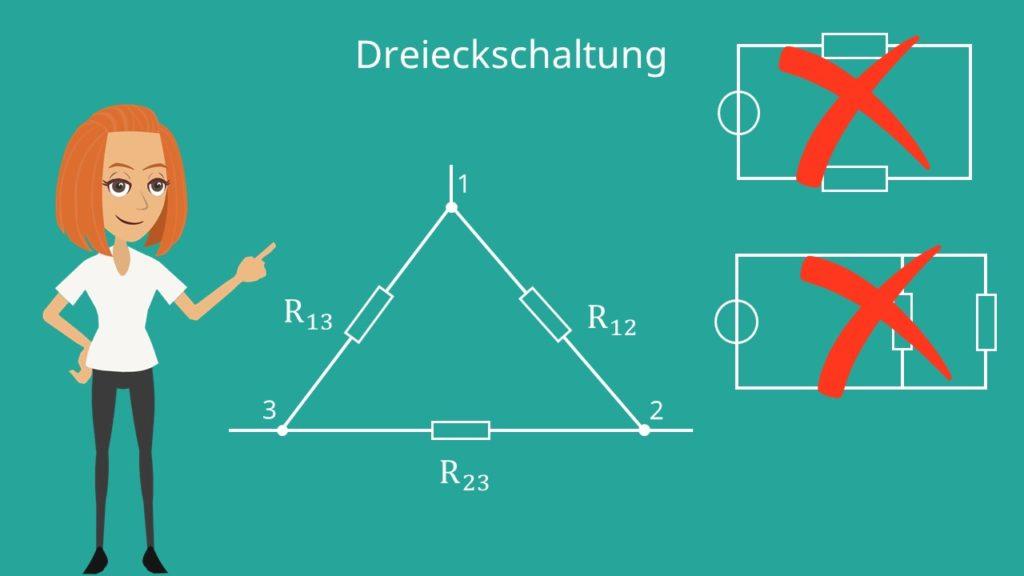 Stern-Dreieck-Schaltung, Dreieckschaltung, Widerstand