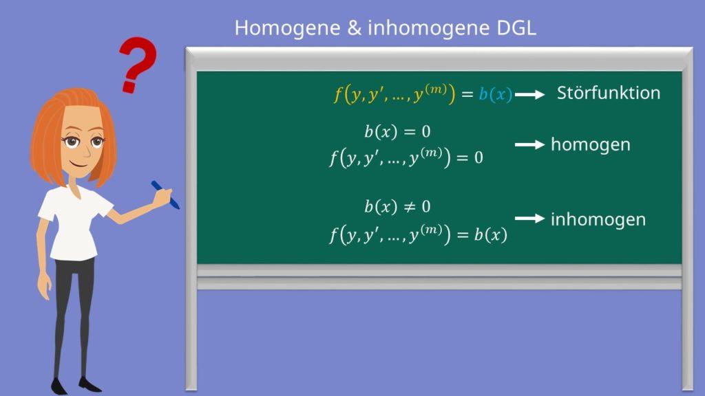 homogene differentialgleichung, inhomogene differentialgleichung, dgl