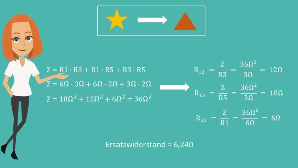 Lösung Sternschaltung in Dreieckschaltung