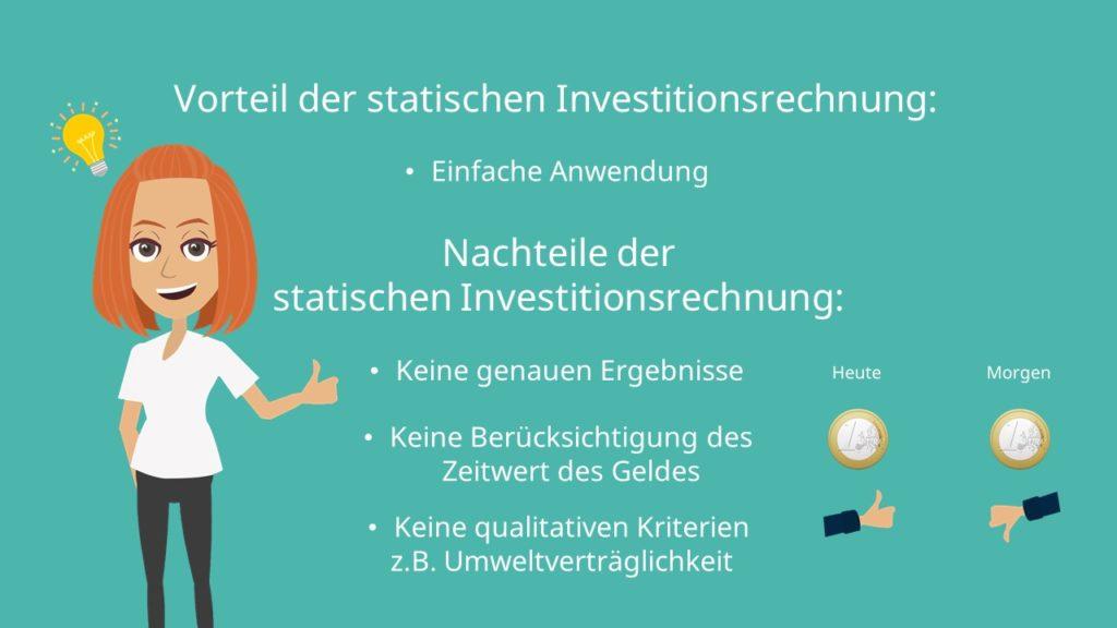 statische Investitionsrechnung, statische Investitionsrechnung Vorteile