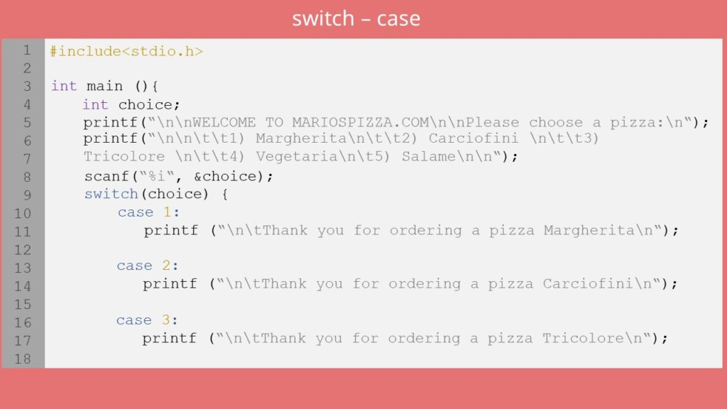 switch-case C, switch c
