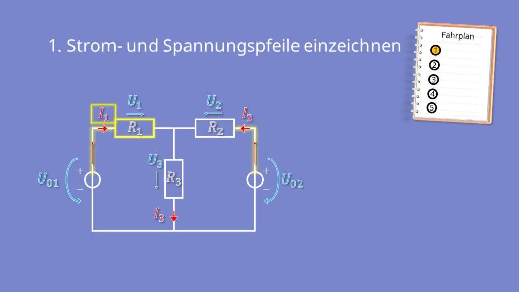 Zweigstromverfahren, Zweigstromanalyse, Widerstand, Spannungsquelle, Strom, Spannung, T Schaltung