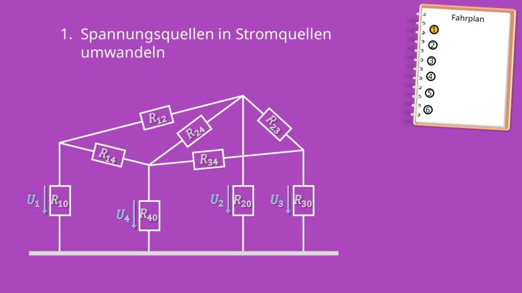 Knotenpotentialverfahren, Umwandlung von Spannungsquellen, Widerstandsnetzwerk