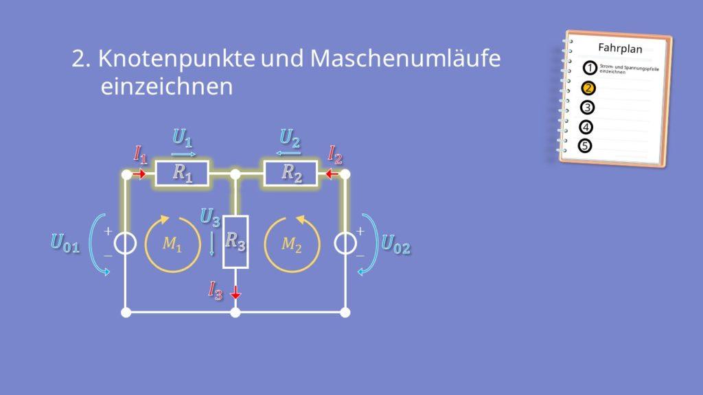 Zweigstromverfahren, Zweigstromanalyse, Knoten, Widerstand, Spannungsquelle