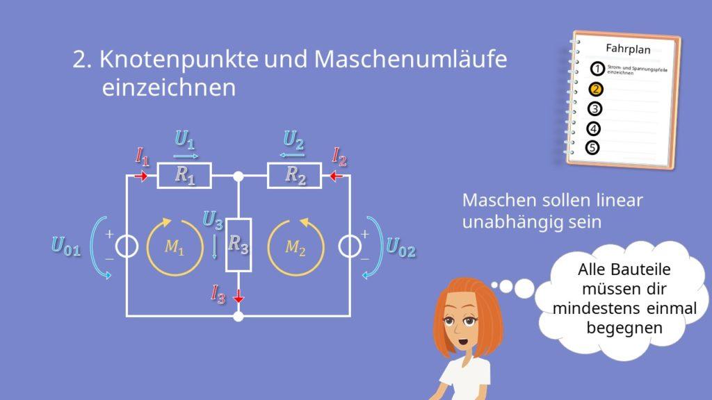 Zweigstromverfahren, Zweigstromanalyse, Kirchhoffsche Regeln, Maschen