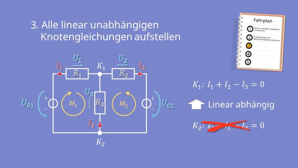 Zweigstromverfahren, Zweigstromanalyse, Knotengleichung, Kirchhoffsche Regeln