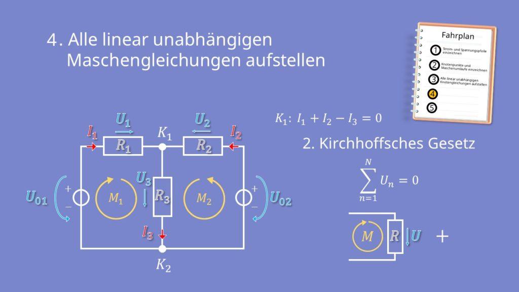 Zweigstromverfahren, Zweigstromanalyse, Maschengleichung, Kirchhoffsche Regeln