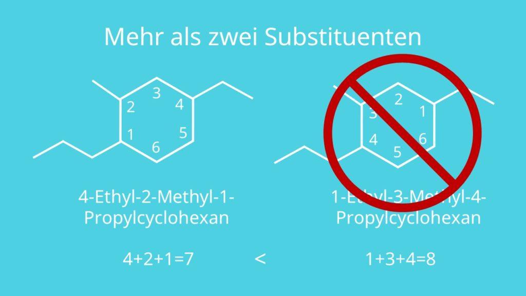 Cyclohexan mit mehr als zwei Substituenten