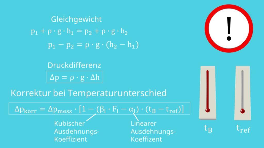 Temperaturunterschied Druckmessung