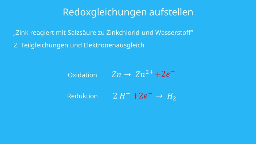 Redoxgleichungen, Zink, Zinkionen, Elektronen, Oxidation, Reduktion