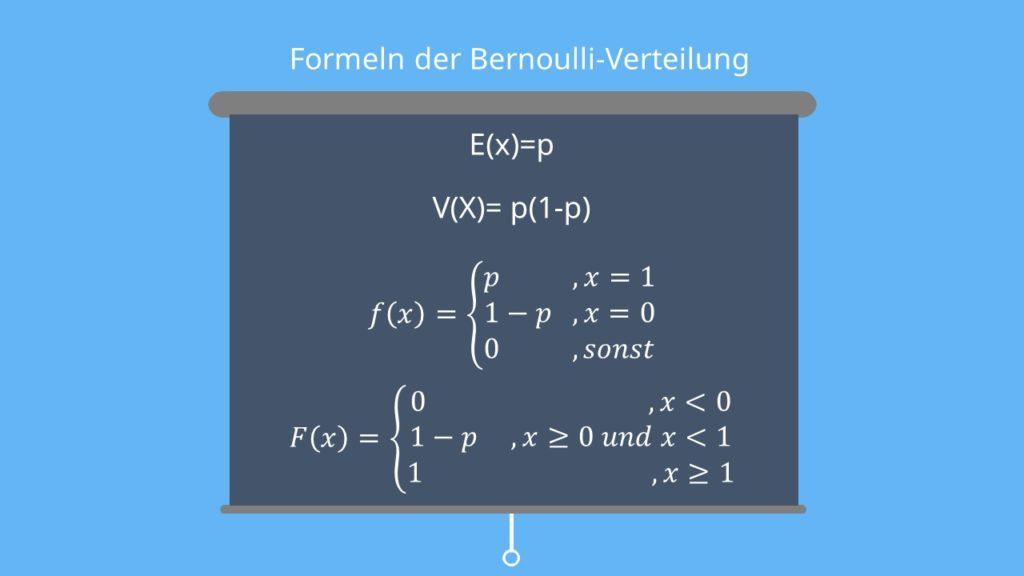 Formeln Bernoulliverteilung