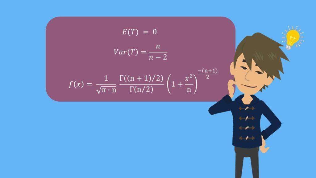 t-Verteilung, t Verteilung berechnen, t verteilung Erwartungswert, t Verteilung Varianz