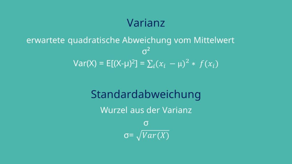 Varianz Standardabweichung diskrete Zufallsvariablen