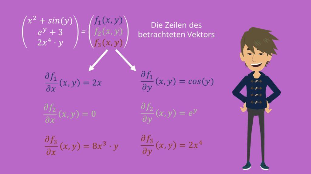 Jacobi-Matrix berechnen, Partielle Ableitungen, Jacobi Matrix Beispiel, Jacobi Matrix berechnen Beispiel