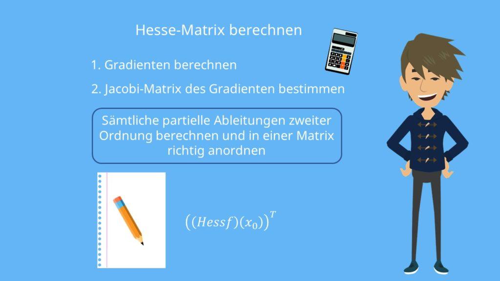 Hesse-Matrix berechnen, Gradient berechnen, Jacobi-Matrix des Gradienten bestimmen, Transponierte Hesse Matrix