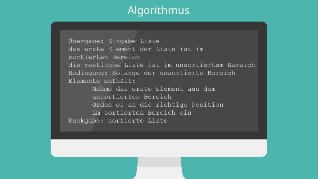 Insertion Sort Algorithm, Insertion Sort Algorithmus