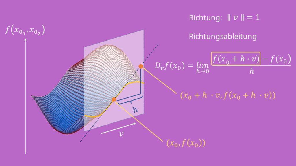 Richtungsableitung an mehrdimensionalen Graph, mehrdimensionaler Graph, dreidimensionaler Graph, Hügellandschaft, Tangentensteigung