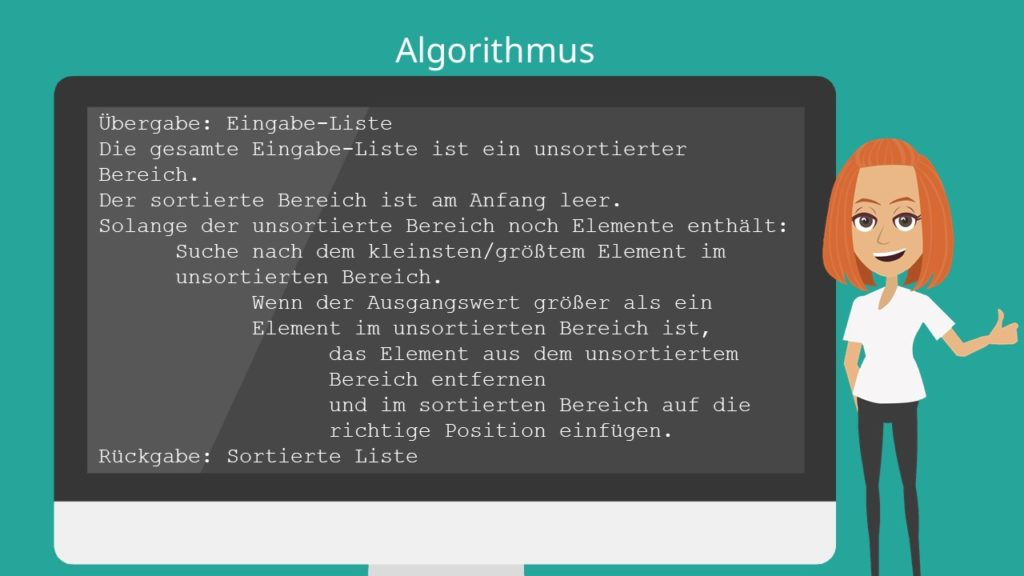 Selection Sort Algorithm, Selection Sort Algorithmus