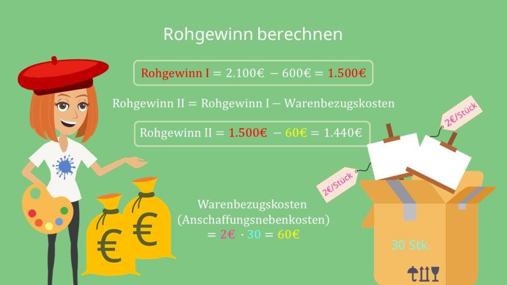 Berechnung von Rohgewinn I und Rohgewinn II