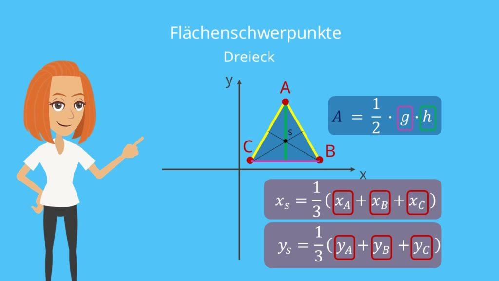 Schwerpunkt Dreieck Flächenschwerpunkt Dreieck Schwerpunkt berechnen