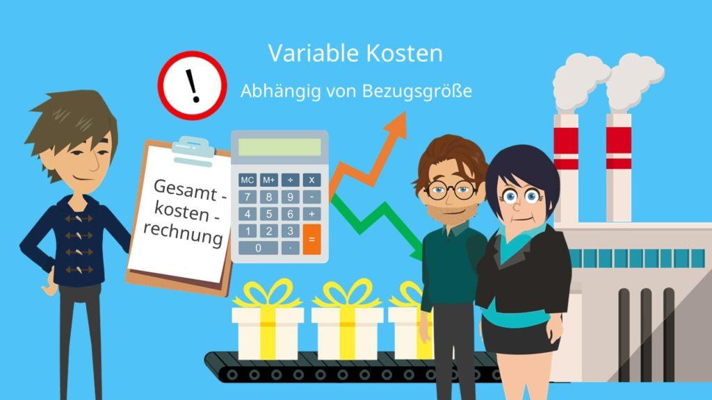 Variable Kosten Definition, Variable Kosten Bezugsgröße, Variable Kosten Gesamtkostenrechnung