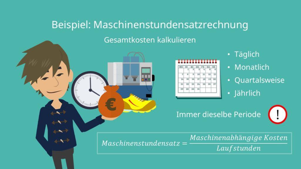 Maschinenstundensatzrechnung Formel, Gesamtkosten kalkulieren, Maschinenabhängige Kosten, Laufstunden