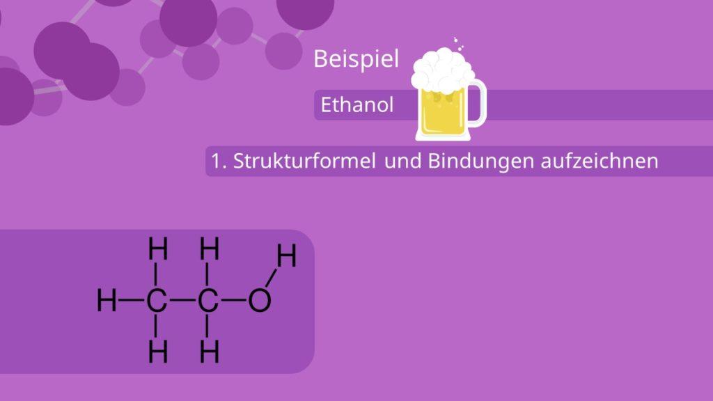 Oxidationszahl bestimmen, grafisch, Ethanol, Strukturformeln, Bindungen