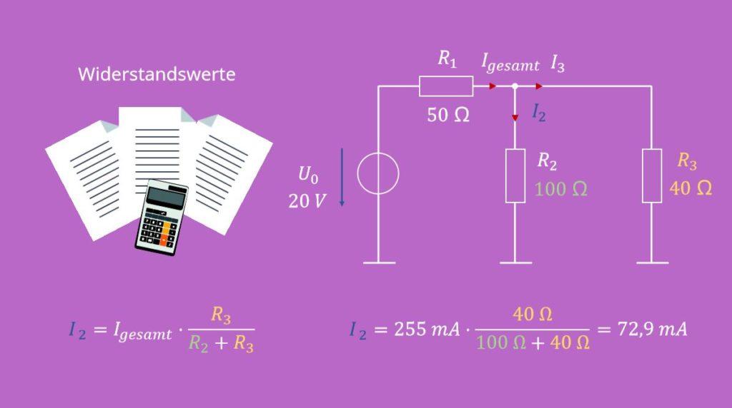 Stromteiler, Widerstand, Parallelschaltung, Teilstrom, Gesamtstrom, Stromteiler 2 Widerstände