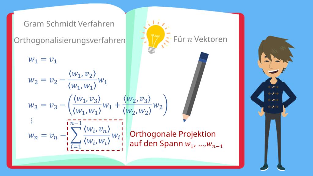 orthogonale Projektion, Gram Schmidt Verfahren, Gram Schmidtsches Orthogonalisiserungsverfahren