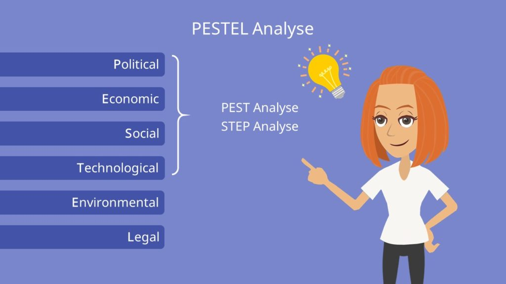 PESTEL Analyse, political, economic, social, technological, environmental, legal