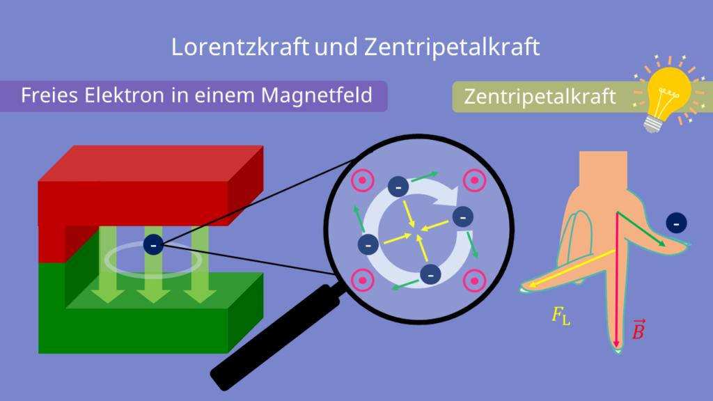 Lorentzkraft und Zentripetalkraft, Bewegung der Elektronen