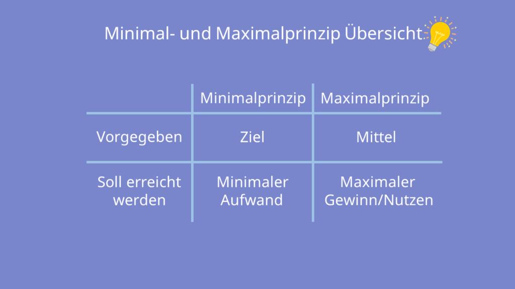 Minimal- und Maximalprinzip Übersicht, Tabelle, Ziele
