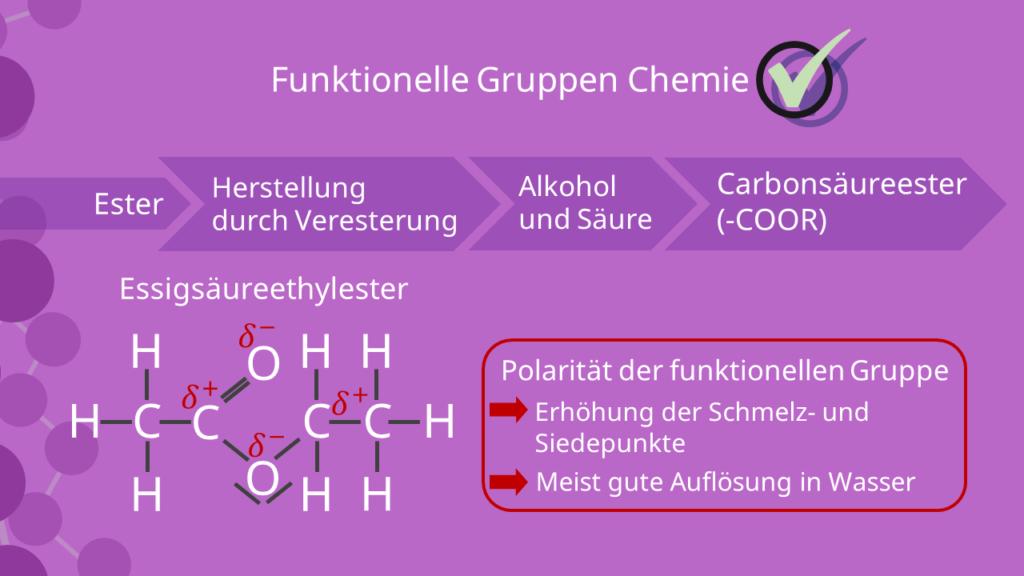 Essigsäureethylester, Funktionelle gruppe