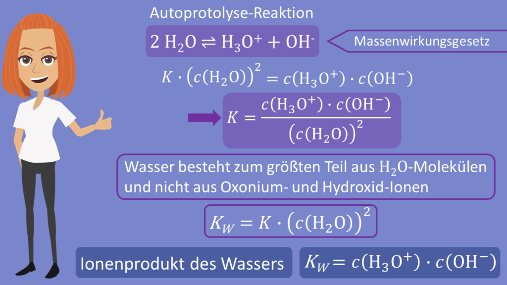 Ionenprodukt Wasser Herleitung, Massenwirkungsgesetz Wasser, Autoprotolyse, Autoprotolyse-Reaktion, Hydroxidionen, Oxoniumionen