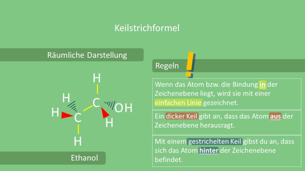 Keilstrichformel, Ethanol, Strukturformel
