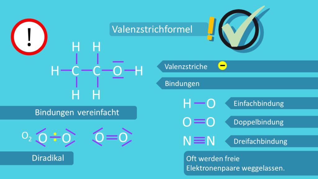 Valenzstrichformel, Ethanol, Sauerstoff