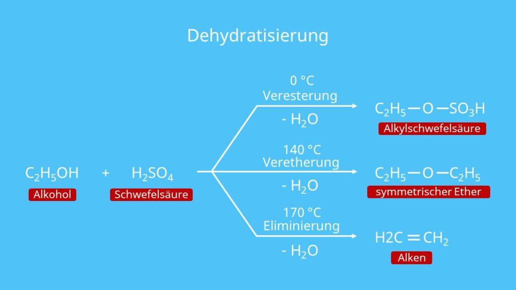 Dehydratisierung, Alkohole, Alkohol