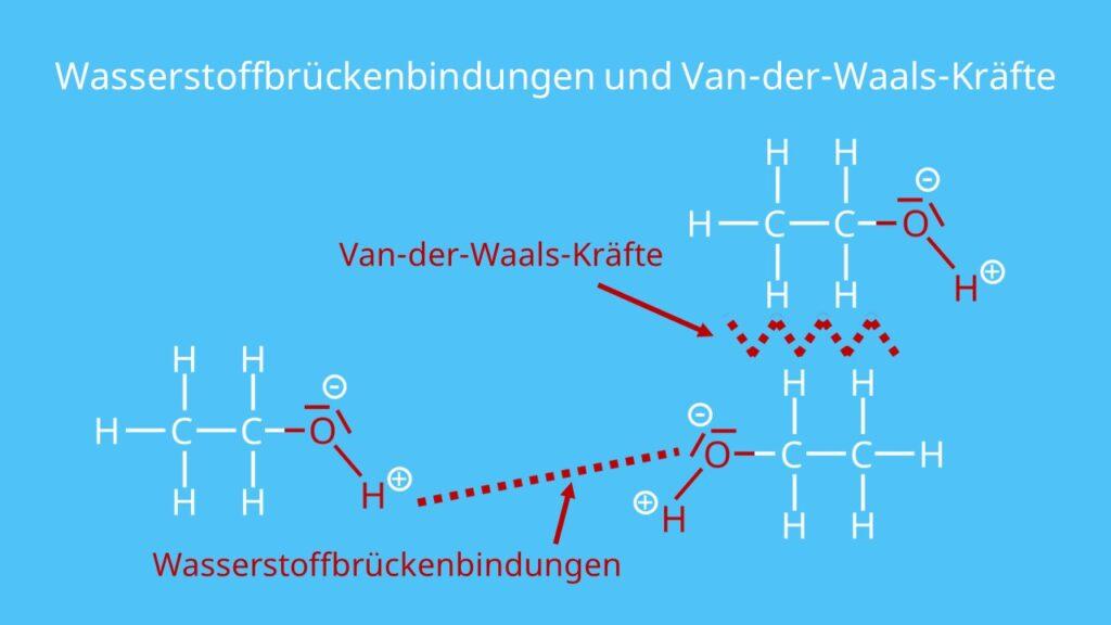 Wasserstoffbrücken, Wasserstoffbrückenbindung, Van-der-Waals-Kräfte, Alkohole, Alkohol